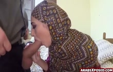 Hijab girl sucking cock for cash