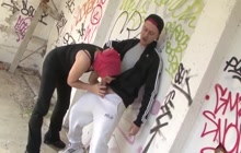 Arab girl Nabilla sucks cock outdoor