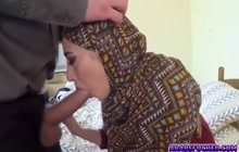 Arab girl in hijab sucking a huge cock