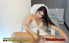 Stunnin Tgirl Valen Jonex Self Sucking on Webcam 4