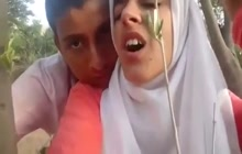 Arab teen couple outdoor