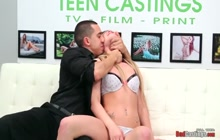 Blonde babe loves a big hard cock during casting