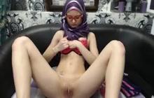 Slender Arab chick hot webcam striptease