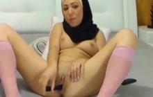 Girl in hijab masturbates