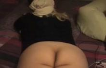 Hijab wearing slut gets cum on her feet